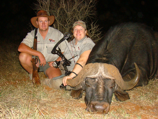 Bates and Professional Hunter with Cape Buffalo